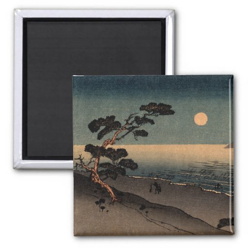 Playa iluminada por la luna en Japón no.1 Imanes
