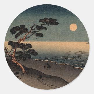 Playa iluminada por la luna en Japón no.1 Pegatina Redonda