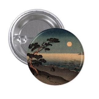 Playa iluminada por la luna en Japón no.1 Pin Redondo De 1 Pulgada
