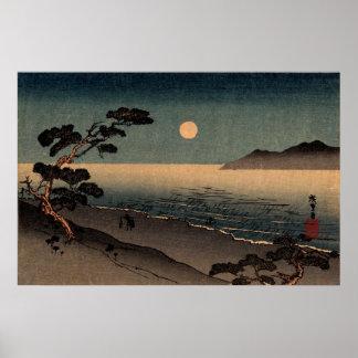Playa iluminada por la luna en Japón no.1 Póster