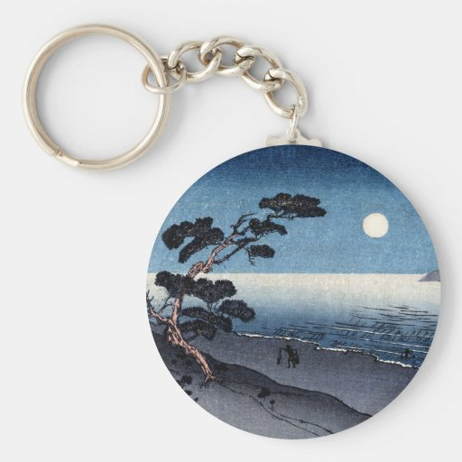 Playa iluminada por la luna en Japón no.2 Llaveros