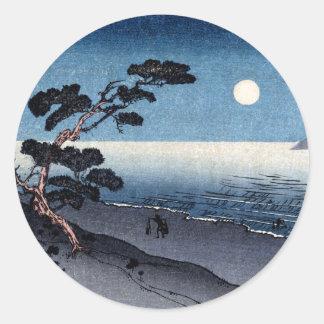 Playa iluminada por la luna en Japón no.2 Pegatina Redonda