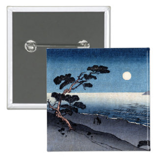 Playa iluminada por la luna en Japón no.2 Pin Cuadrado