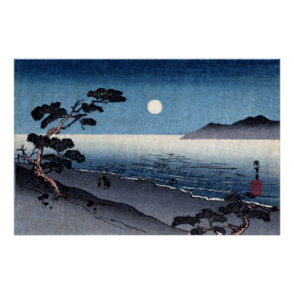 Playa iluminada por la luna en Japón no.2 Póster