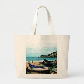 Playa IV de Portugal - barcos coloridos en la Bolsa Tela Grande