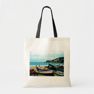 Playa IV de Portugal - barcos coloridos en la Bolsa Tela Barata
