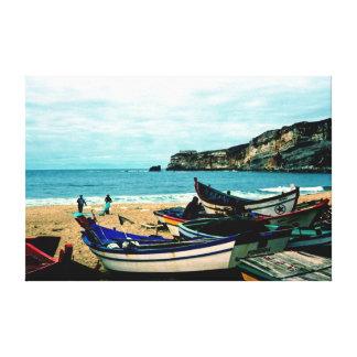 Playa IV de Portugal - barcos coloridos en la Impresión En Lienzo