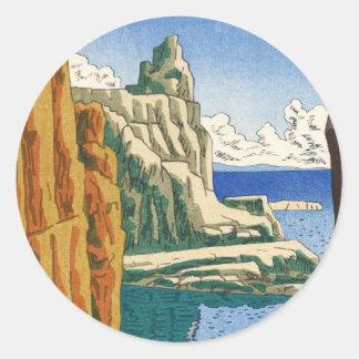Playa japonesa del waterscape de Asano Takeji Pegatina Redonda