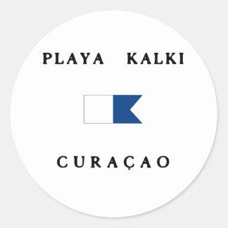 Playa Kalki Curacao Alpha Dive Flag Classic Round Sticker