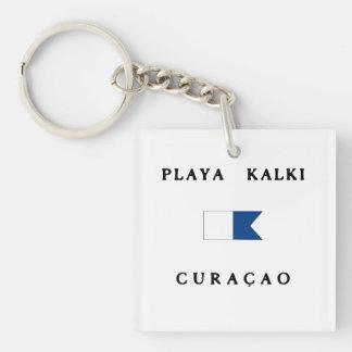Playa Kalki Curacao Alpha Dive Flag Double-Sided Square Acrylic Keychain