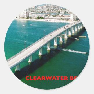 PLAYA LA FLORIDA DE CLEARWATER ETIQUETA REDONDA