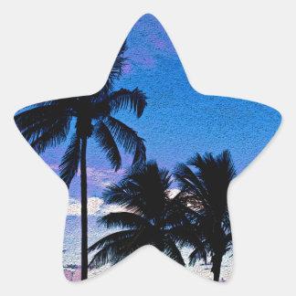 Playa la Florida de Hollywood de tres palmeras Pegatina En Forma De Estrella