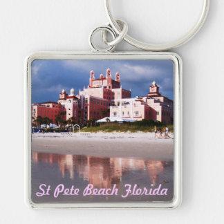 Playa la Florida del St Pete Llavero Cuadrado Plateado
