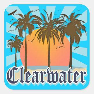 Playa la Florida FLA de Clearwater Pegatina Cuadrada