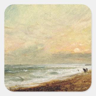 Playa levantada, c.1824 (aceite en el documento calcomanías cuadradas
