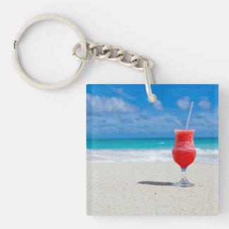 Playa Llavero Cuadrado Acrílico A Doble Cara