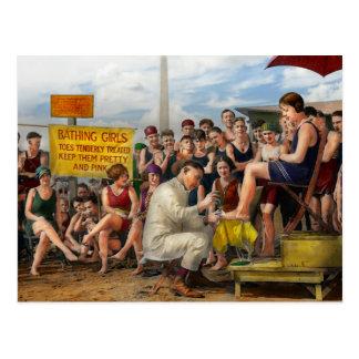 Playa - los dedos del pie trataron blando 1922 postales