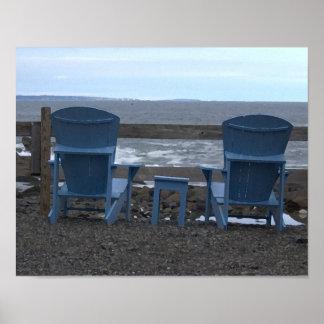 Playa Maine de York del puesto de observación Poster