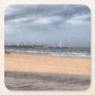 Playa maravillosa posavasos de cartón cuadrado