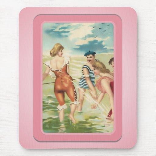 Playa Mousepad de los bañistas de Sun del vintage