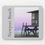 Playa Mousepad de Newport de la torre del salvavid Tapetes De Ratón