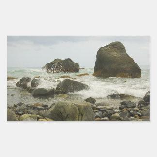 Playa na degradado en pegatinas de la provincia de pegatina rectangular