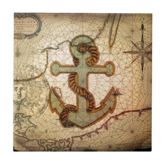 Playa náutica del ancla del vintage azulejo cuadrado pequeño