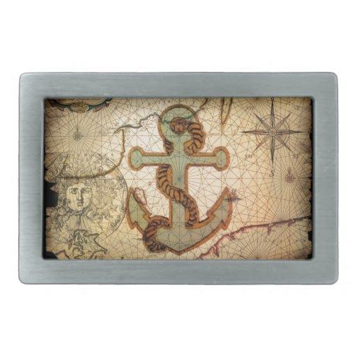 Playa náutica del ancla del vintage hebillas de cinturon rectangulares