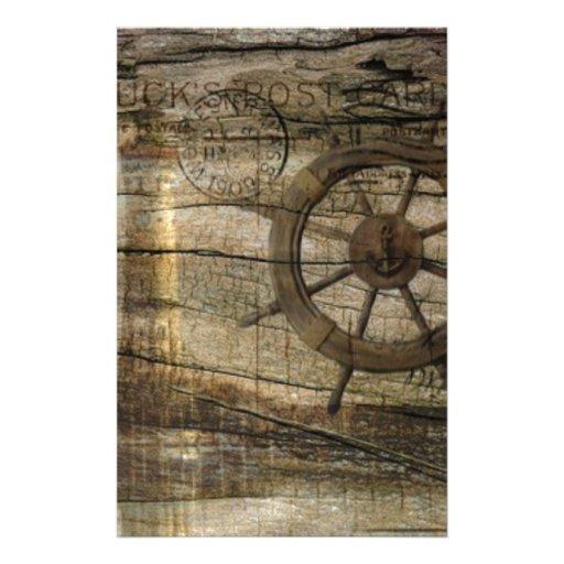 Playa náutica del ancla del vintage papelería personalizada
