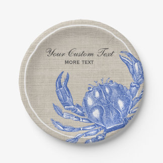 Playa náutica del personalizado del cangrejo azul platos de papel