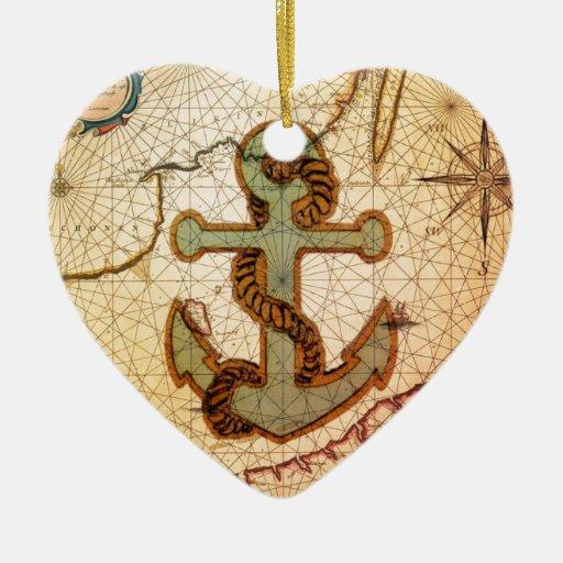 Playa náutica femenina del vintage del ancla adorno navideño de cerámica en forma de corazón