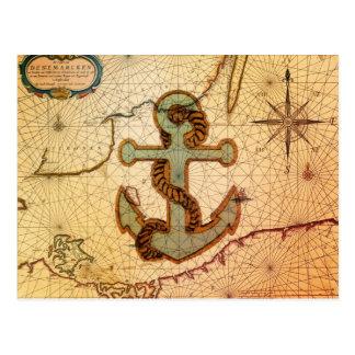 Playa náutica femenina del vintage del ancla tarjeta postal