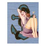 Playa náutica femenina del vintage del ancla tarjetas postales