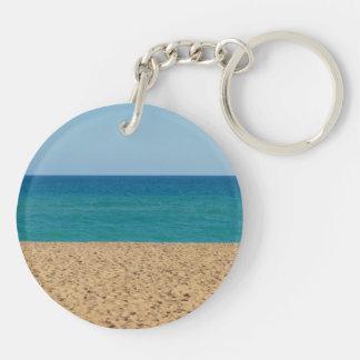 Playa, océano, llavero del acrílico del cielo