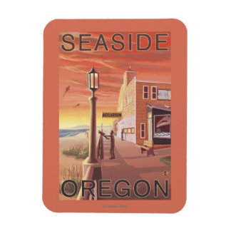 Playa, opinión de OregonAquarium Imán Foto Rectangular
