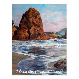 Playa Oregon de la roca de la batalla Postal