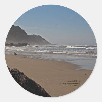 Playa Oregon de Neptuno Etiqueta Redonda