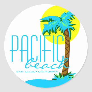 Playa pacífica San Diego Pegatina Redonda