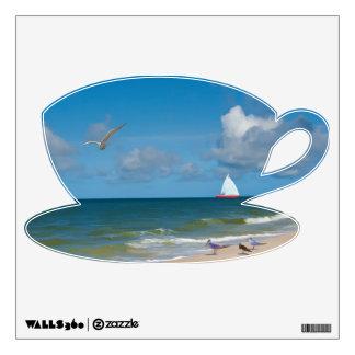 Playa, pájaros, etiqueta de la pared del velero