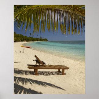 Playa, palmeras y ocioso póster