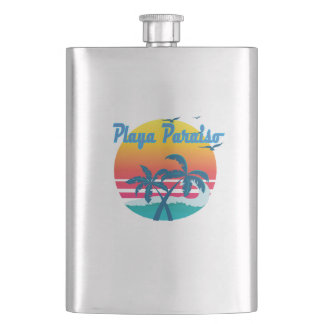 Playa Paraiso, summer retro vintage Flask
