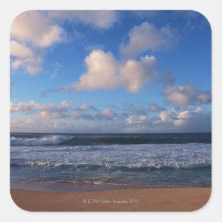 Playa Calcomania Cuadradas Personalizada