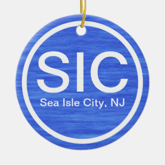 Playa personalizada de New Jersey de la ciudad de Adorno Navideño Redondo De Cerámica