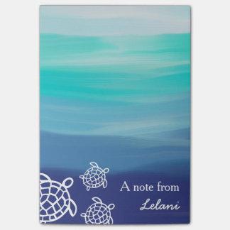 Playa personalizada del océano de las tortugas de notas post-it®