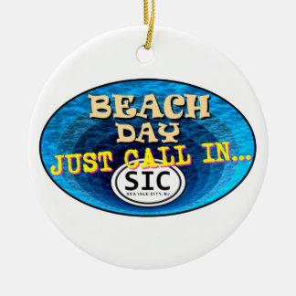 Playa personalizada SIC NJ de New Jersey de la Adorno Navideño Redondo De Cerámica
