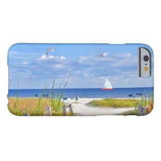Playa, playa, y pájaros, personalizable funda de iPhone 6 barely there