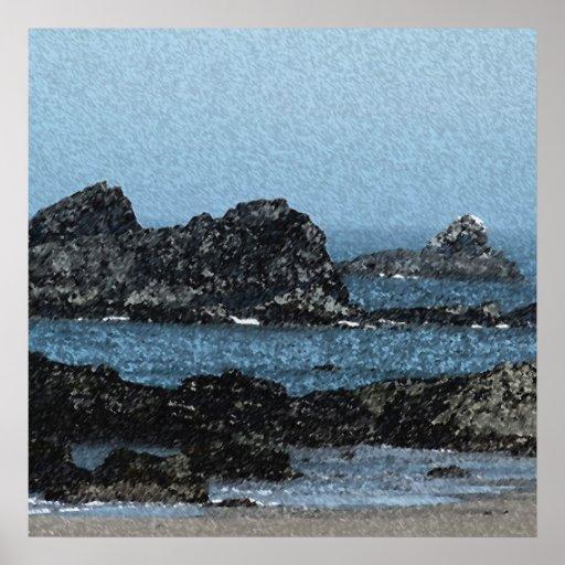 Playa principal de las ballenas póster