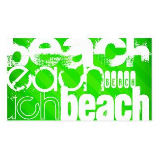 Playa; Rayas verdes de neón Tarjetas De Visita
