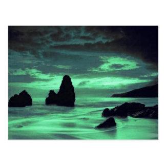 Playa, resaca y piedra tarjeta postal