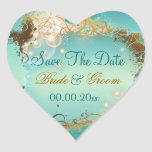 "Playa ""reserva aguamarina del boda de la fecha"" calcomania corazon"